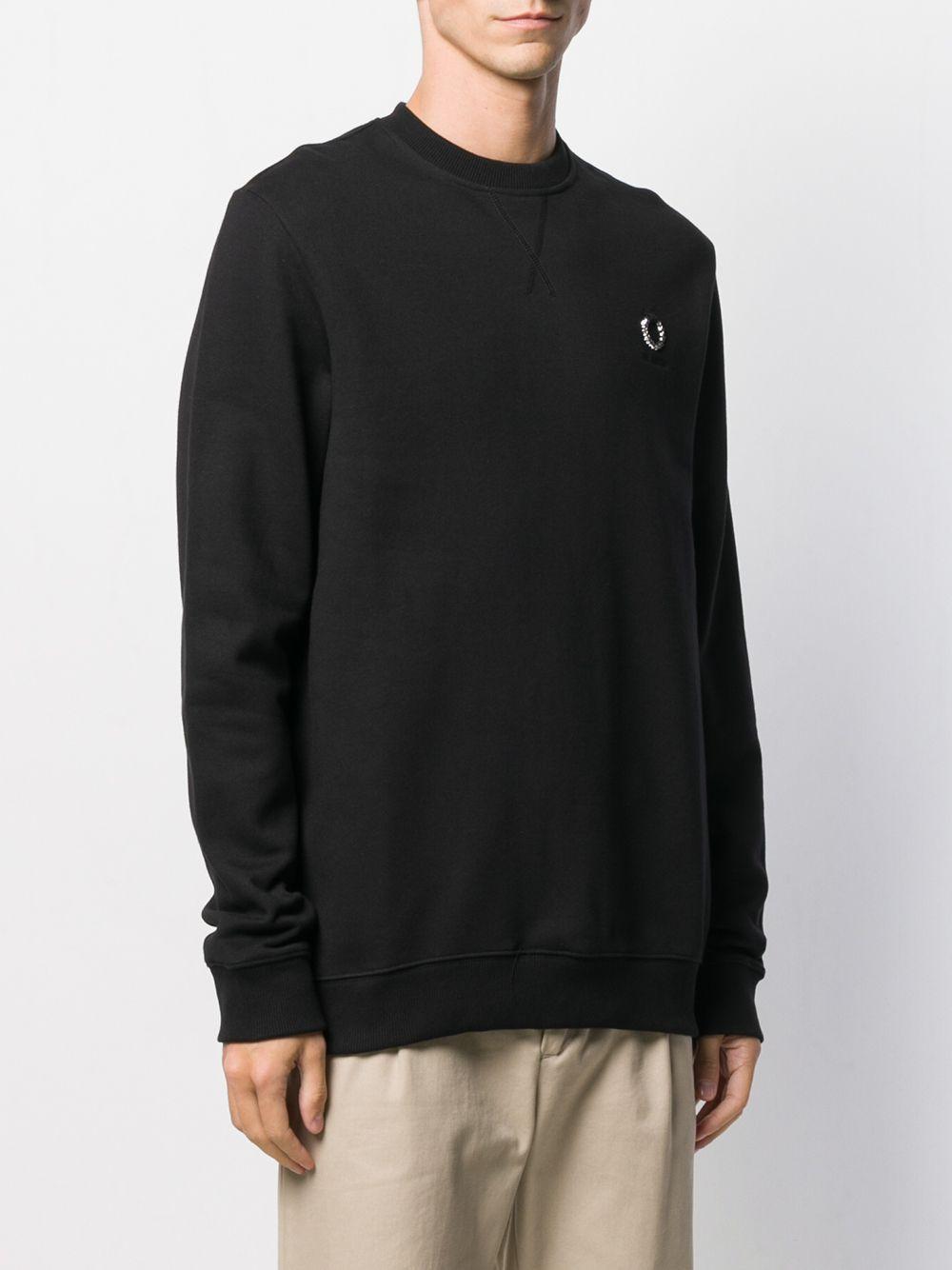 Fred Perry Katoen Sweater Met Logoplakkaat in het Zwart voor heren