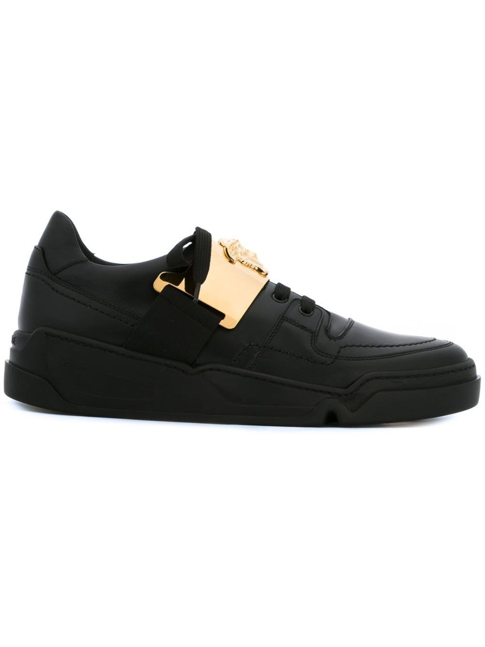 versace medusa plaque sneakers in black for men lyst