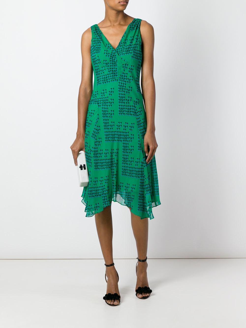 Diane von Furstenberg Cotton Dita Printed Silk-Chiffon Dress in Green