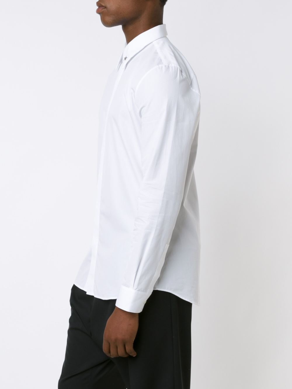 Givenchy star collar tip shirt in black for men lyst for Givenchy 5 star shirt