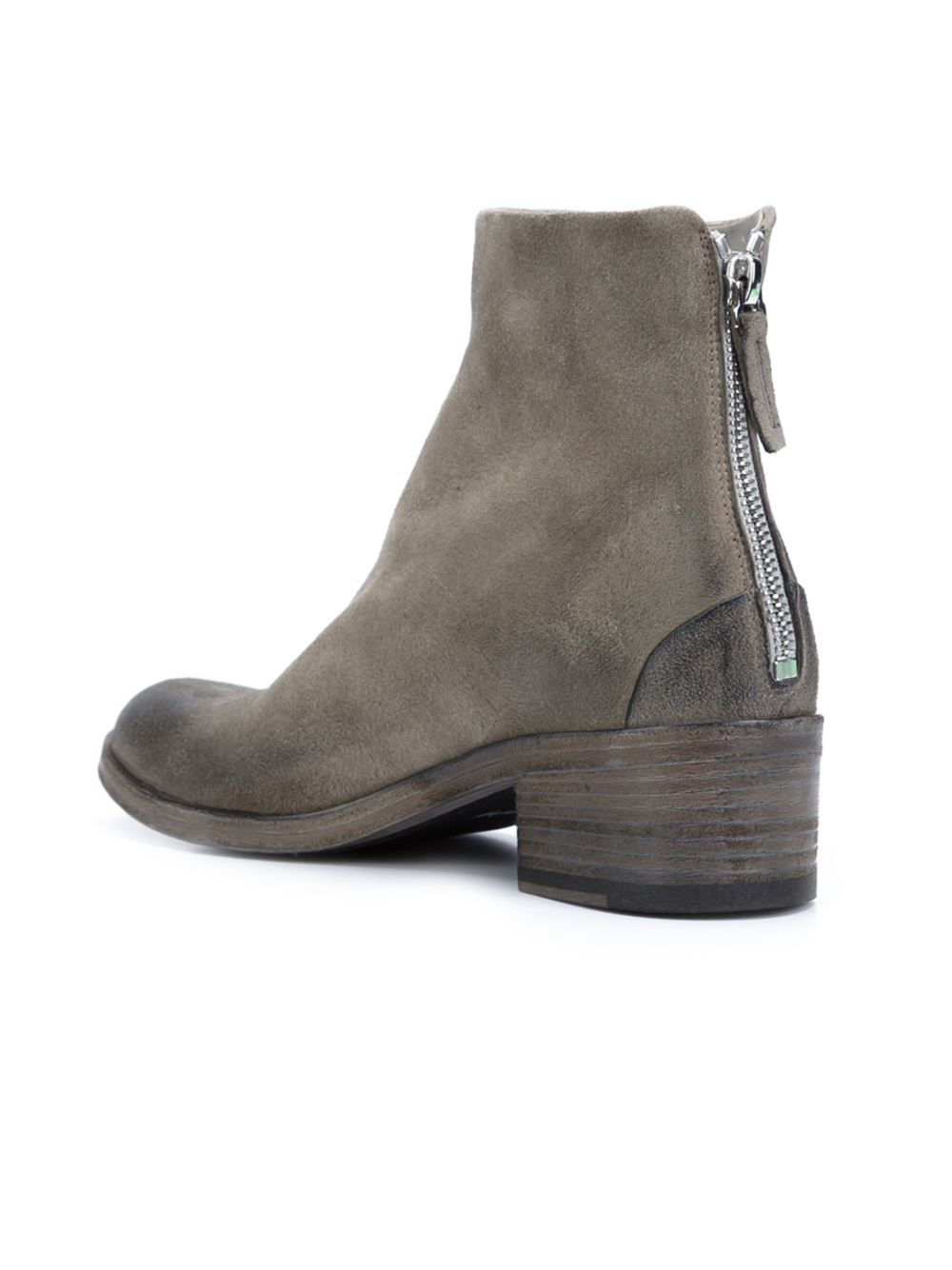 Marsèll Leather Rear Zip Ankle Boots in Grey (Grey)