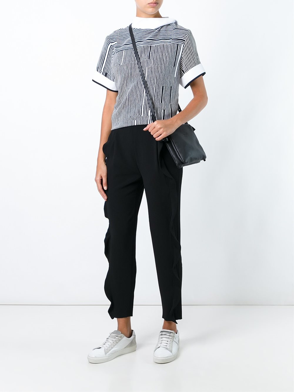 Carven Cotton Striped High Neck Blouse in Black