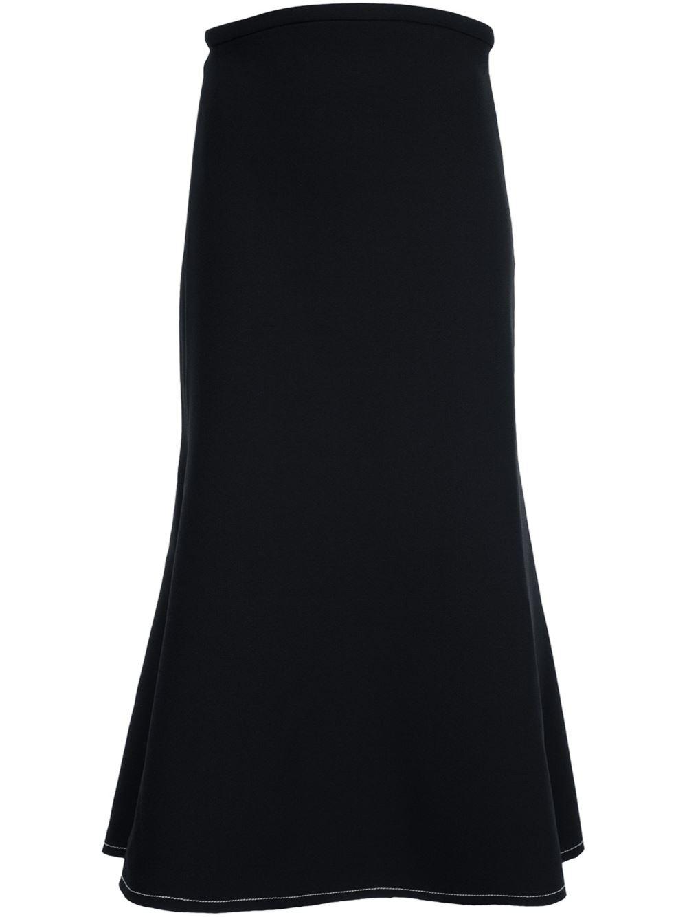 ellery flared midi skirt in black lyst