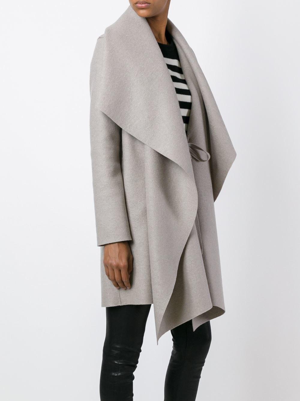 lyst harris wharf london blanket coat in gray. Black Bedroom Furniture Sets. Home Design Ideas