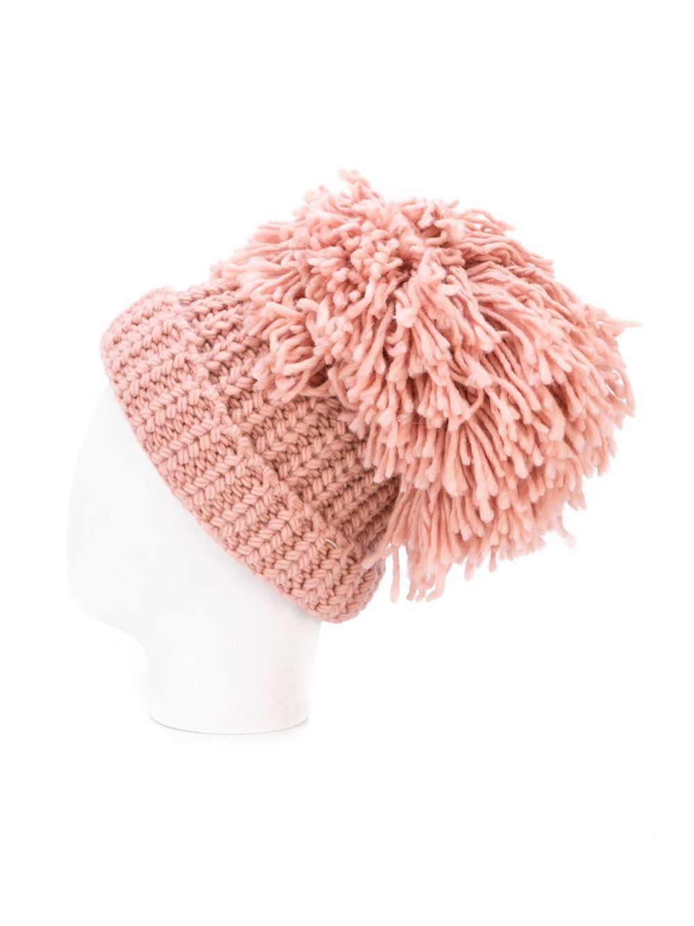 49d586ba549 Lyst - Federica Moretti  maxi Pom Pom  Beanie in Pink