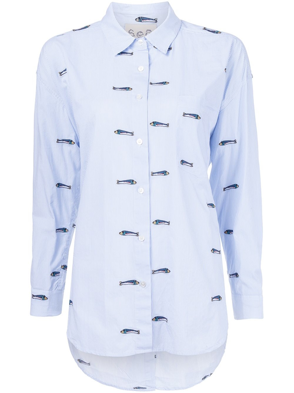 Lyst sea embroidered fish shirt in blue for Embroidered fishing shirts