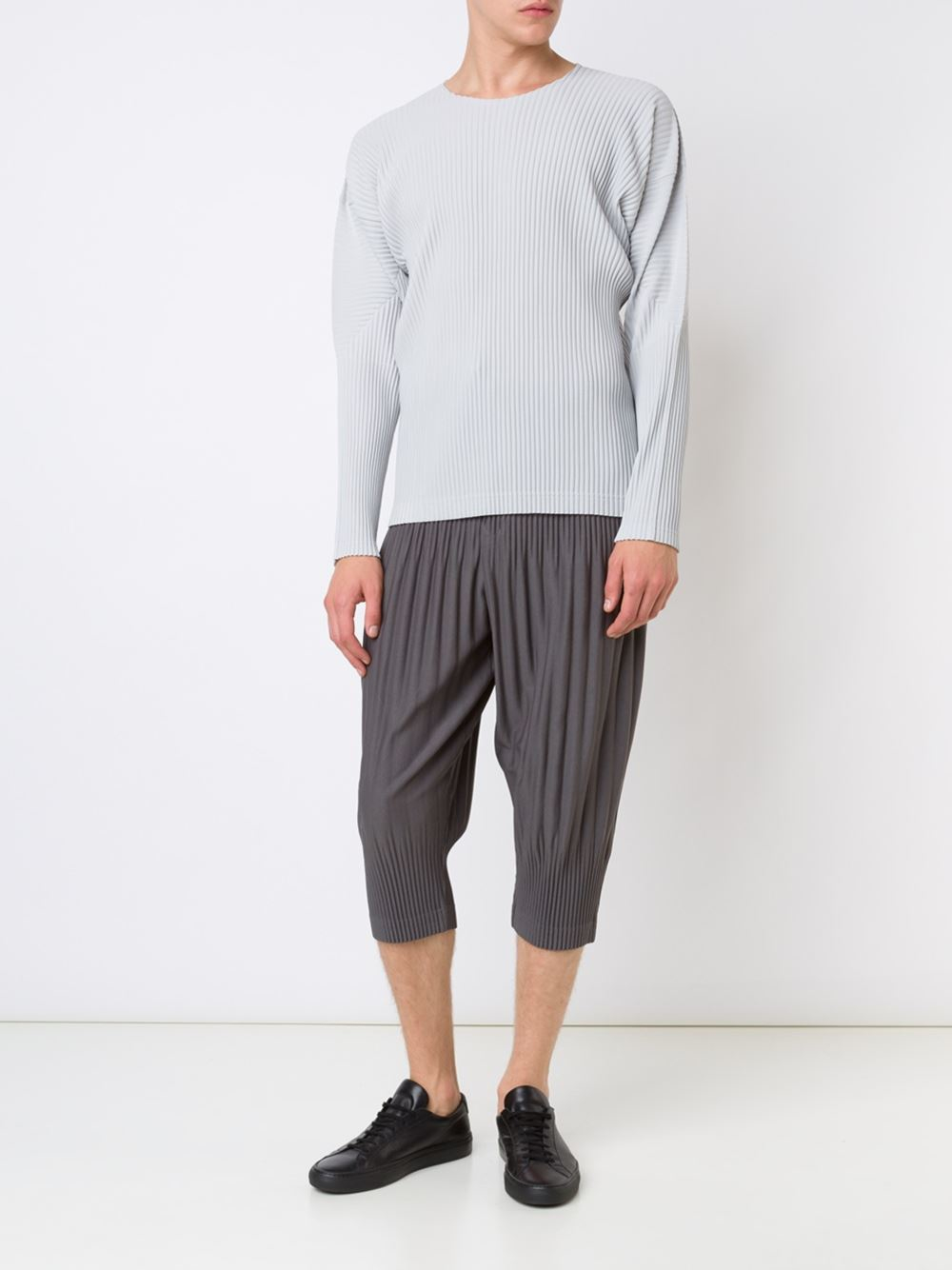 lyst homme pliss issey miyake long sleeve pleated t shirt in gray for men. Black Bedroom Furniture Sets. Home Design Ideas