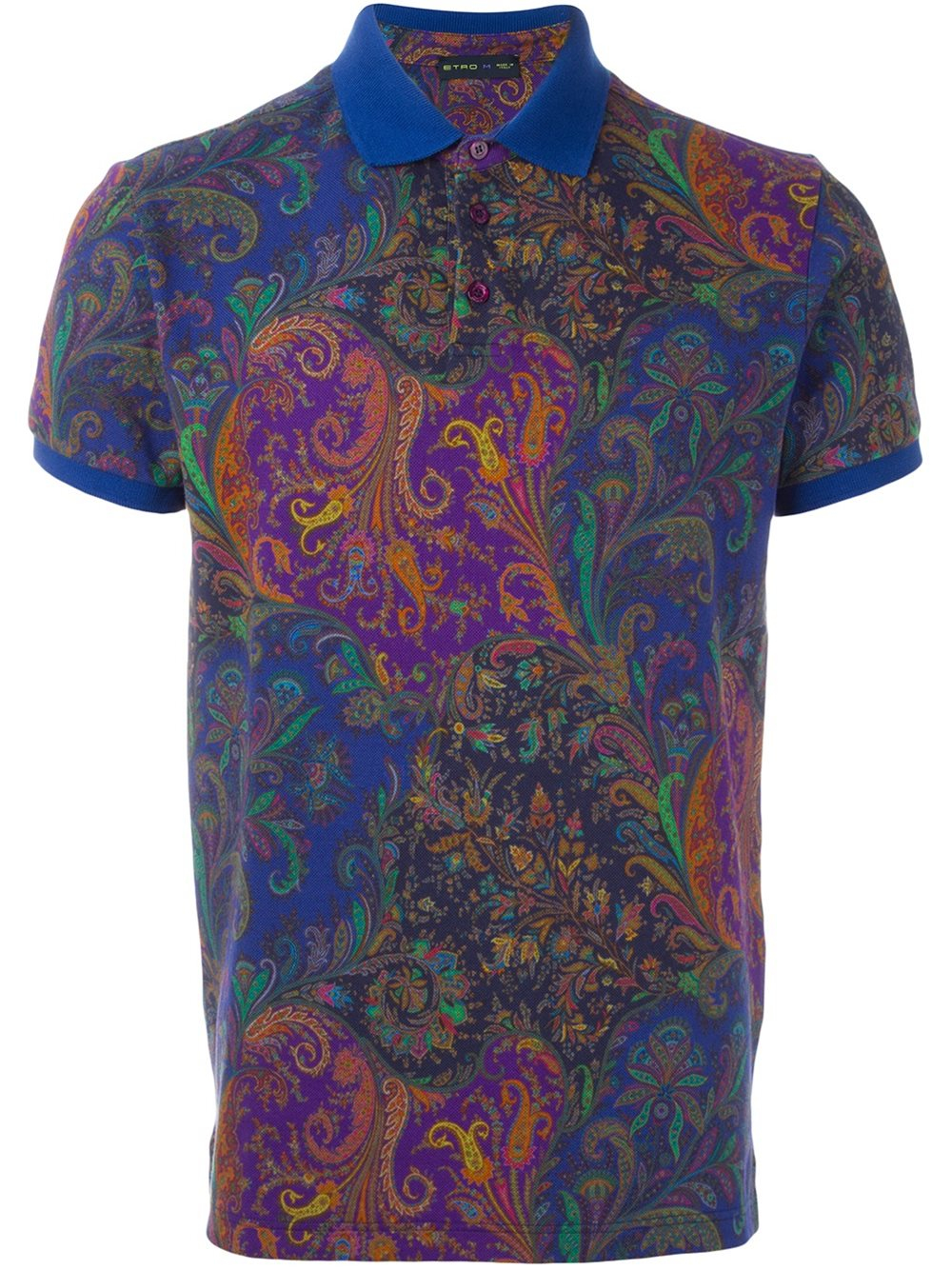 Etro paisley print polo shirt for men lyst for Polo shirts for printing