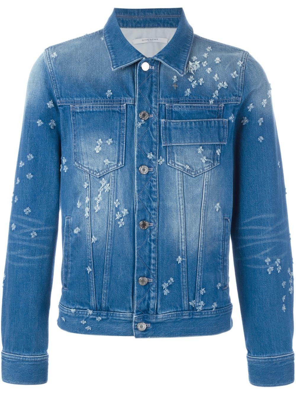Givenchy Distressed Effect Denim Jacket in Blue for Men
