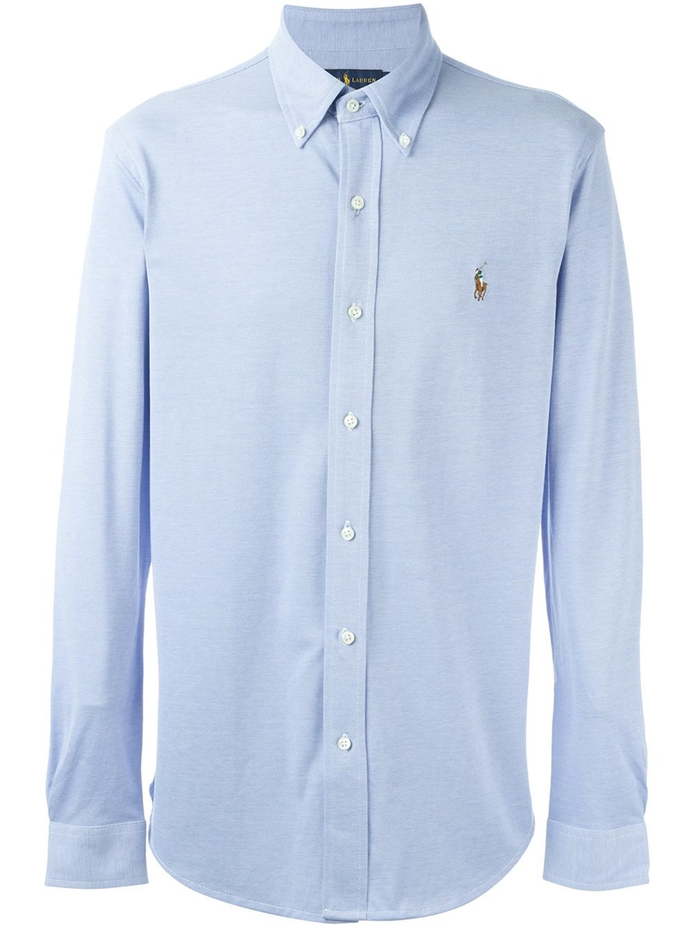 Pink pony embroidered logo shirt in blue for men lyst for Embroidered logos on shirts