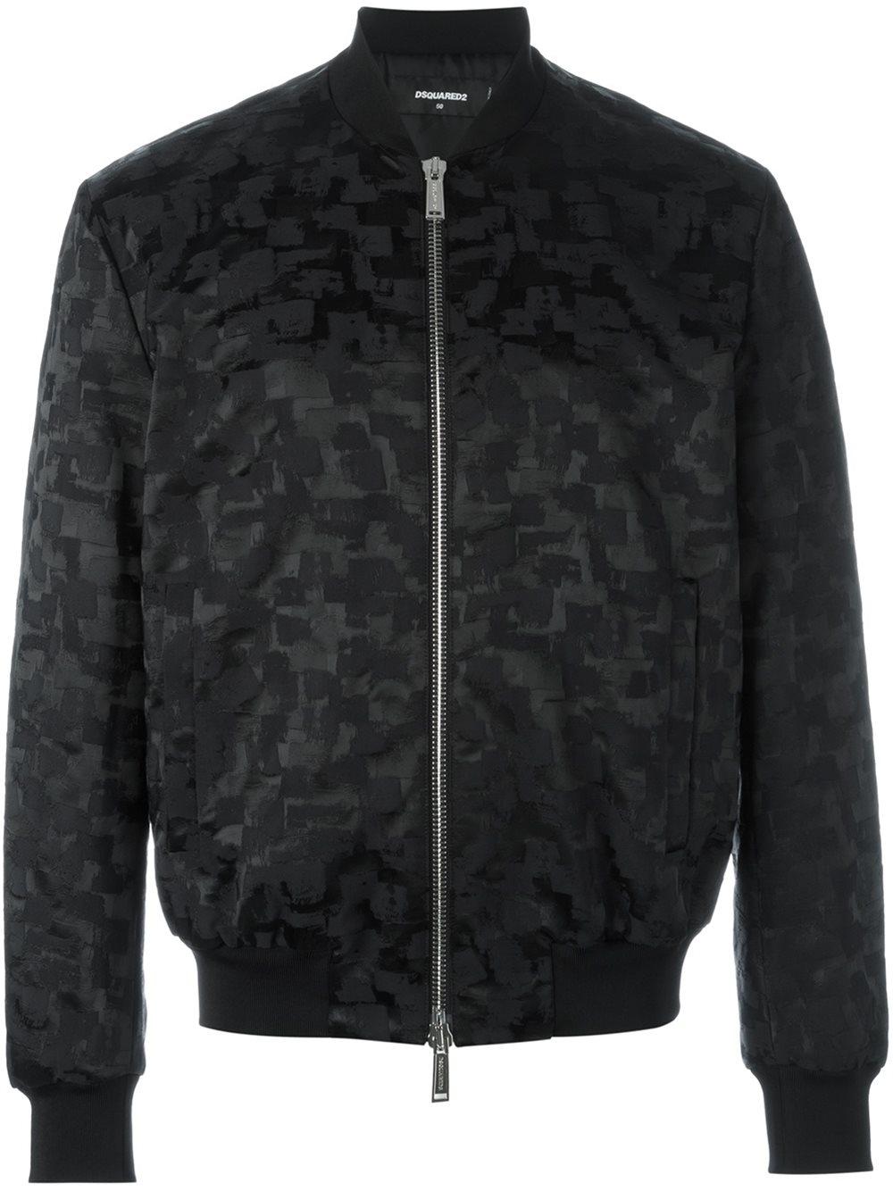 Dsquared 178 Smudge Pattern Bomber Jacket In Black For Men Lyst