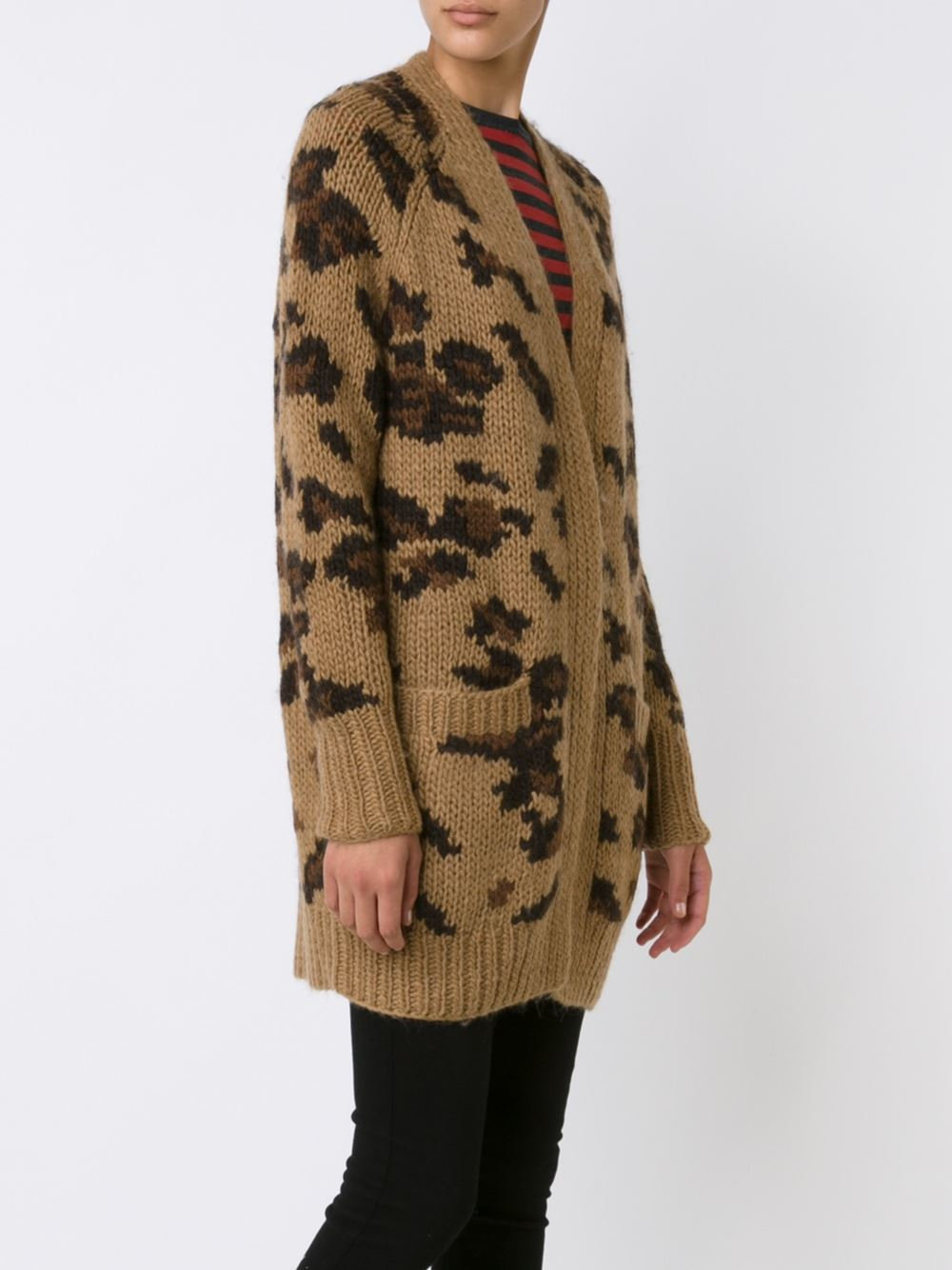 R13 Wool Long Leopard Pattern Cardigan In Brown Lyst
