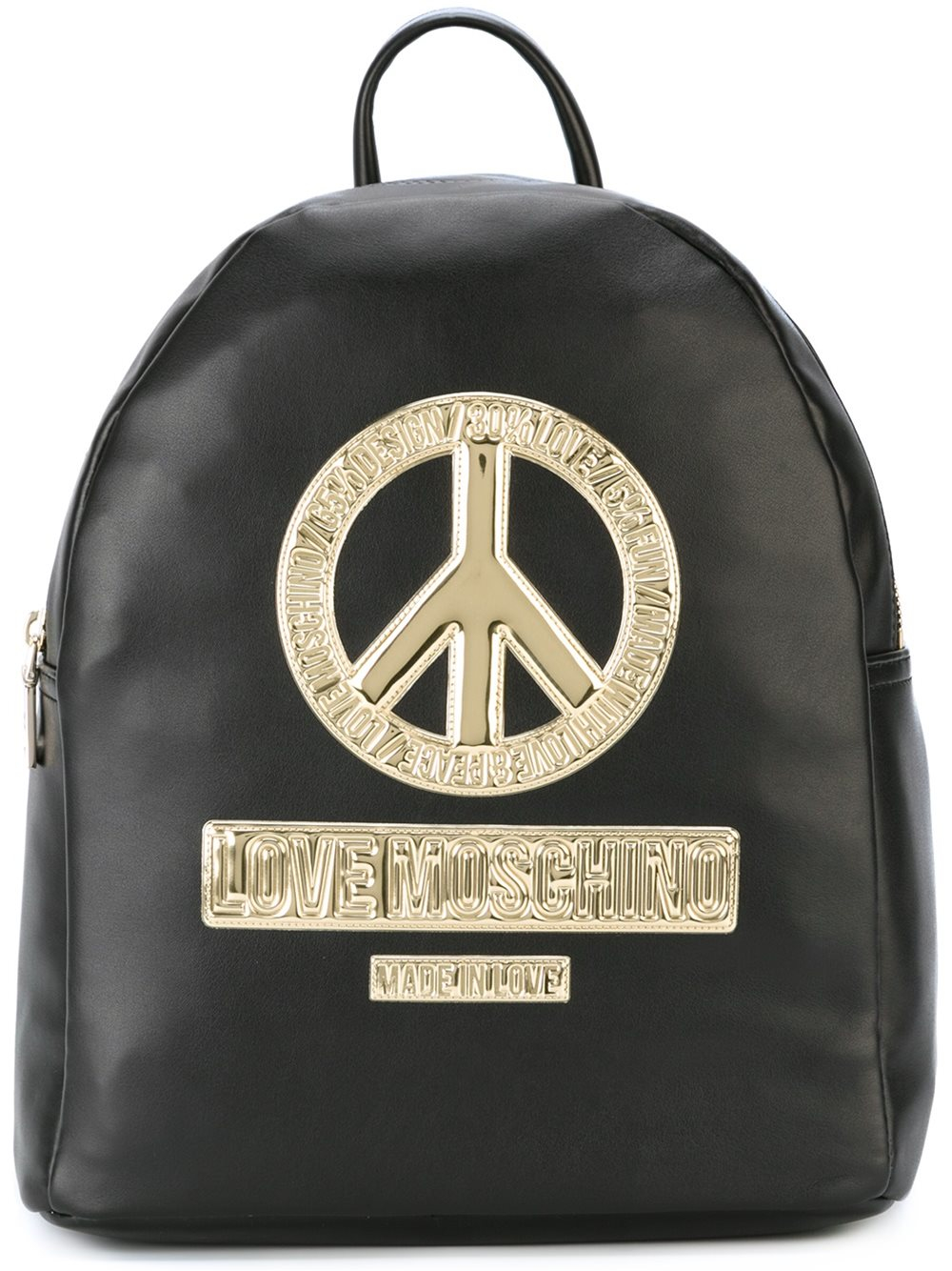 love moschino peace patch backpack in black lyst. Black Bedroom Furniture Sets. Home Design Ideas