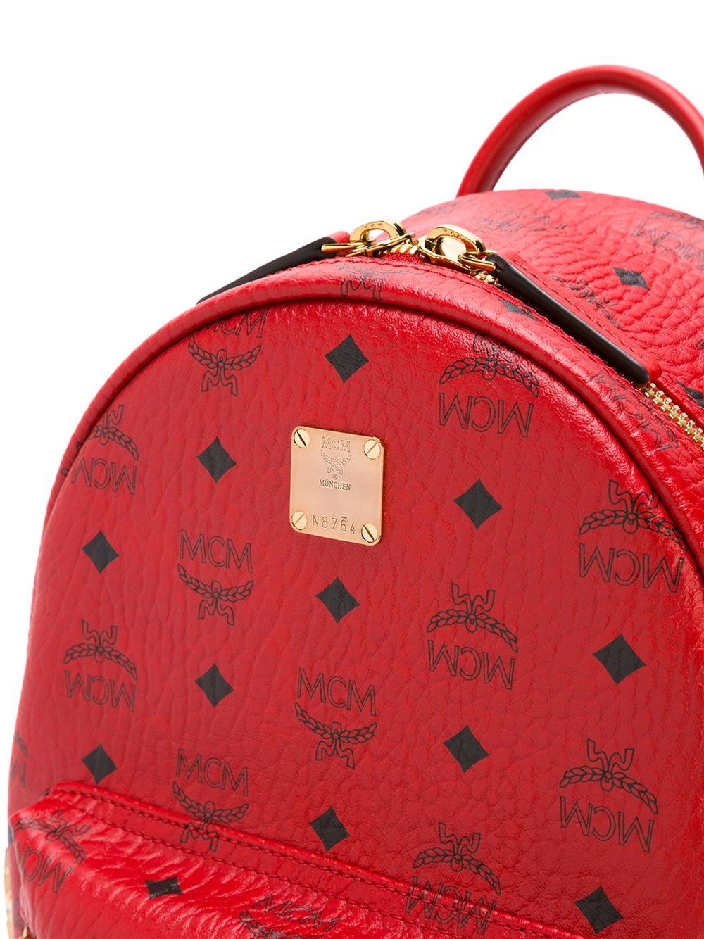 Lyst Mcm Logo Print Backpack In Red