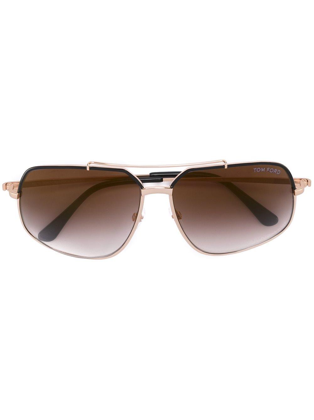 Gold Frame Rectangular Sunglasses : Tom ford Rectangular Frame Sunglasses in Metallic for Men ...