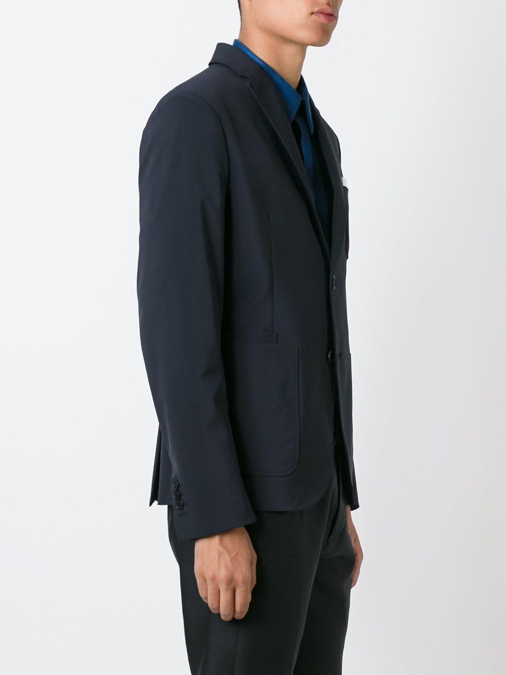 Neil Barrett Wool Patch Pocket Blazer in Blue for Men