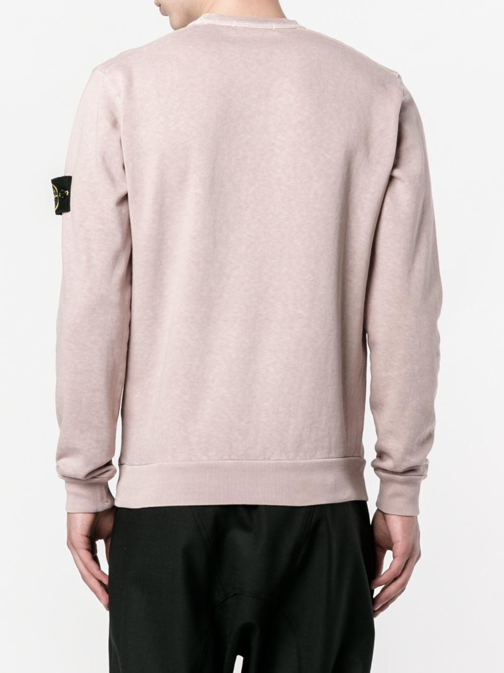 Stone Island Logo Patch Sweatshirt For Men Lyst