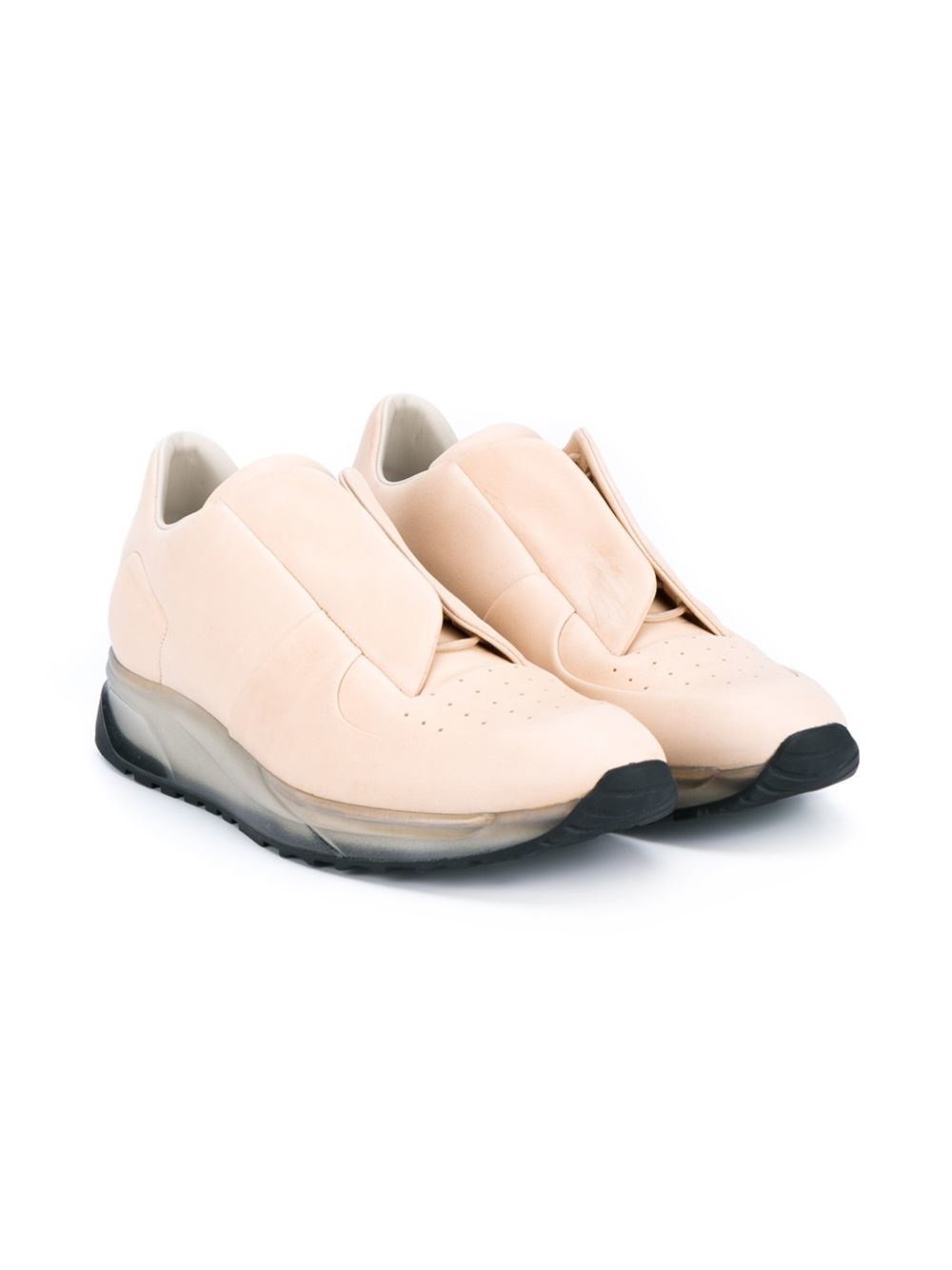 Maison Margiela Leather Trasparent Concealed Vamp Sneakers in Natural