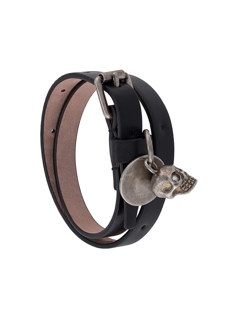 Alexander Mcqueen Double Wrap Skull Bracelet In Black For
