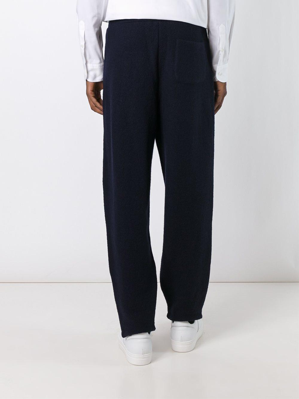 Ports 1961 Wool 'micro Boucle Felted' Trousers in Blue for Men