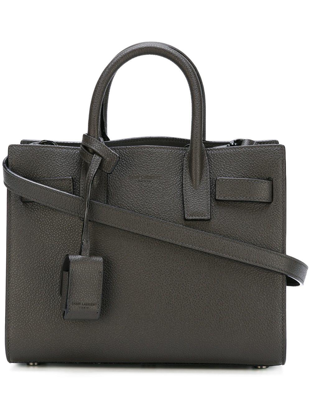 lyst saint laurent nano 39 sac de jour 39 tote bag in gray. Black Bedroom Furniture Sets. Home Design Ideas