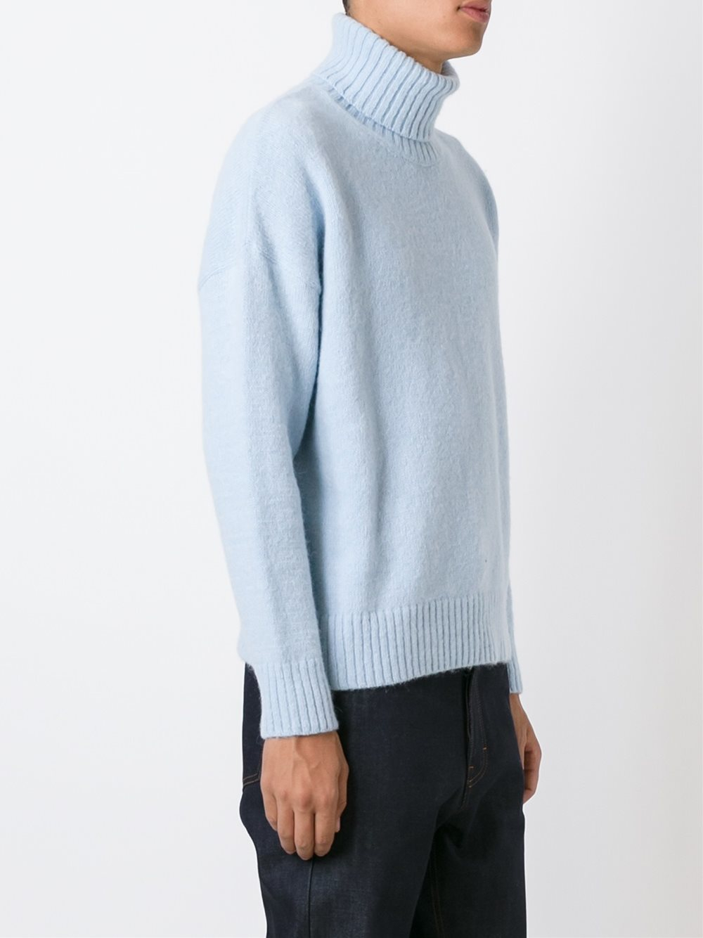 Lyst Ami Blue Alpaca Oversized Turtleneck In Blue For Men
