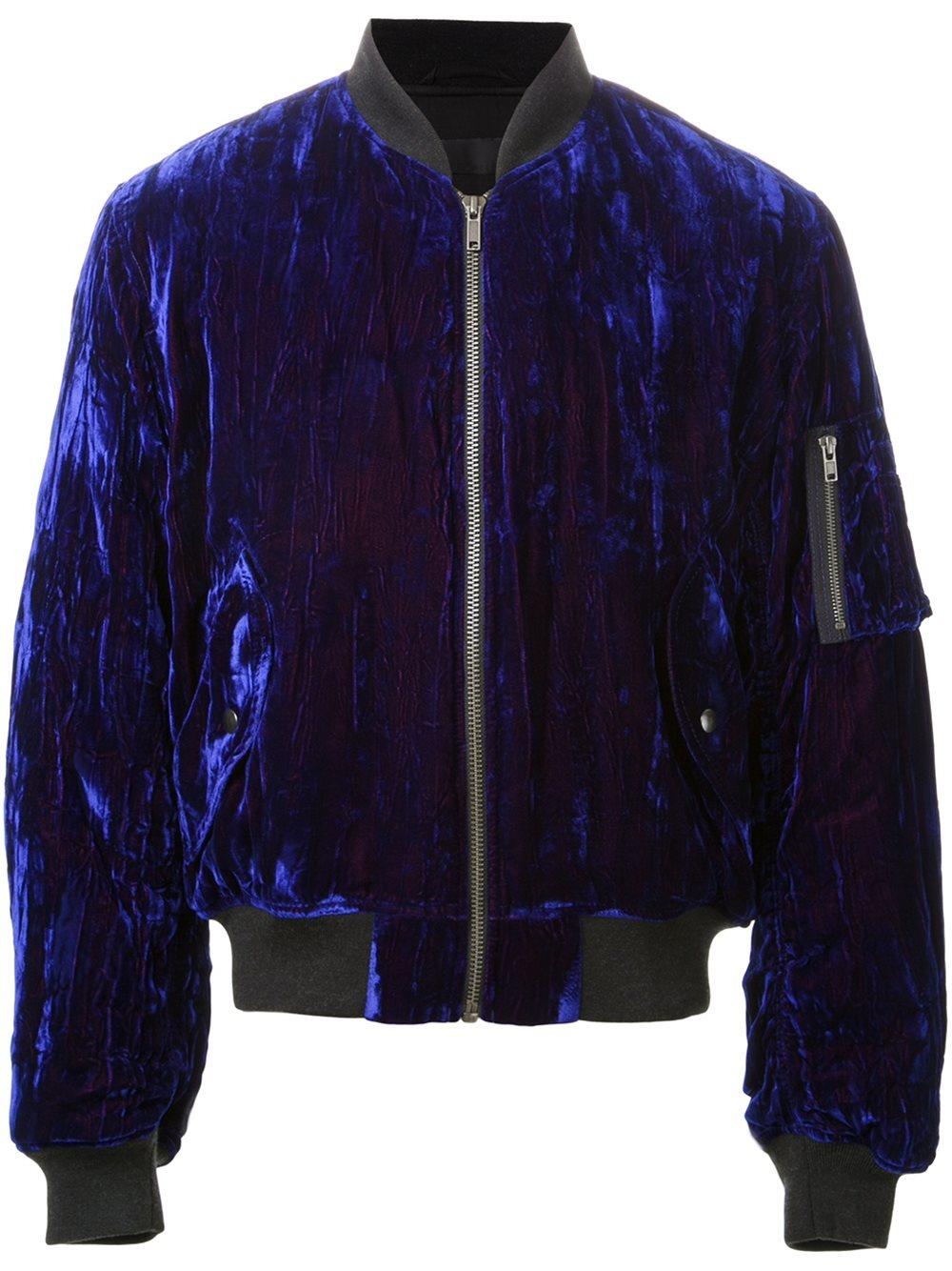 Haider Ackermann Cotton Blue Crushed Velvet Bomber Jacket