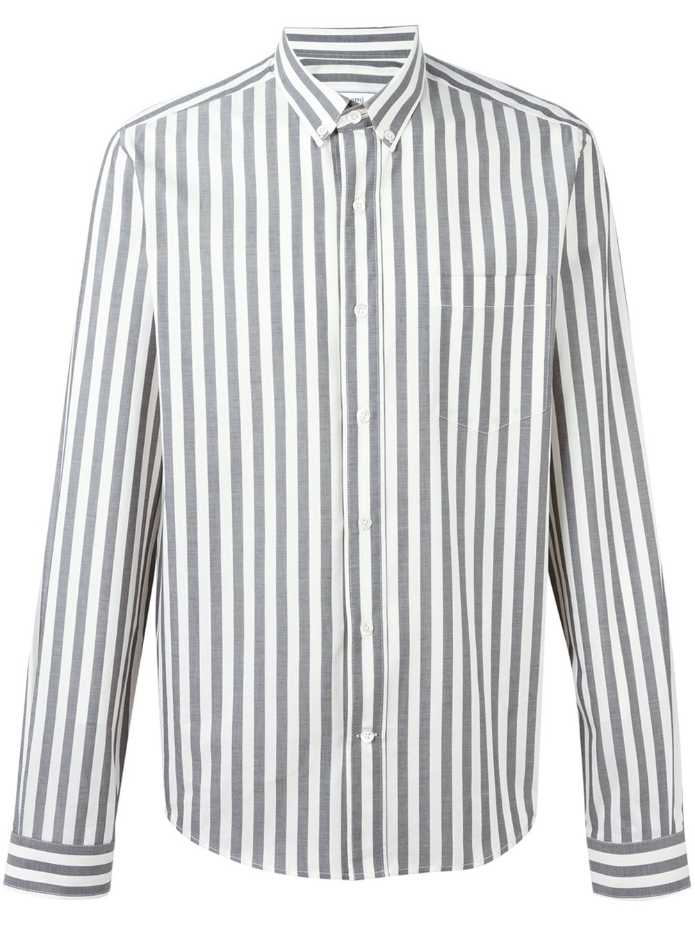 Ami striped button down shirt in black for men lyst for Striped button down shirts for men