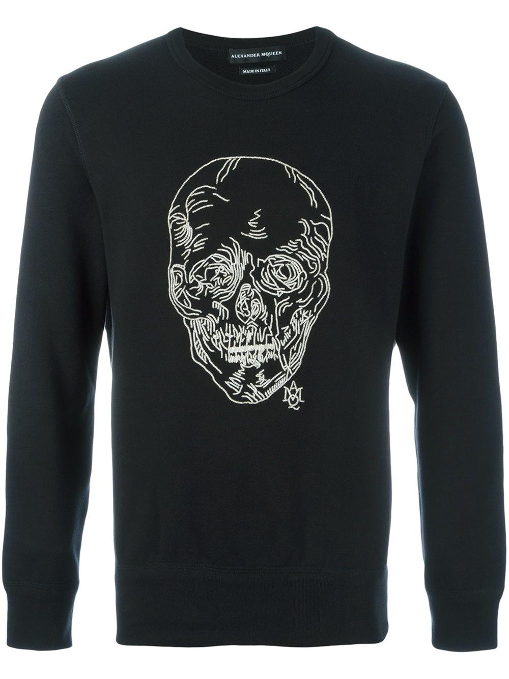 alexander mcqueen chain skull sweatshirt in black for men lyst. Black Bedroom Furniture Sets. Home Design Ideas