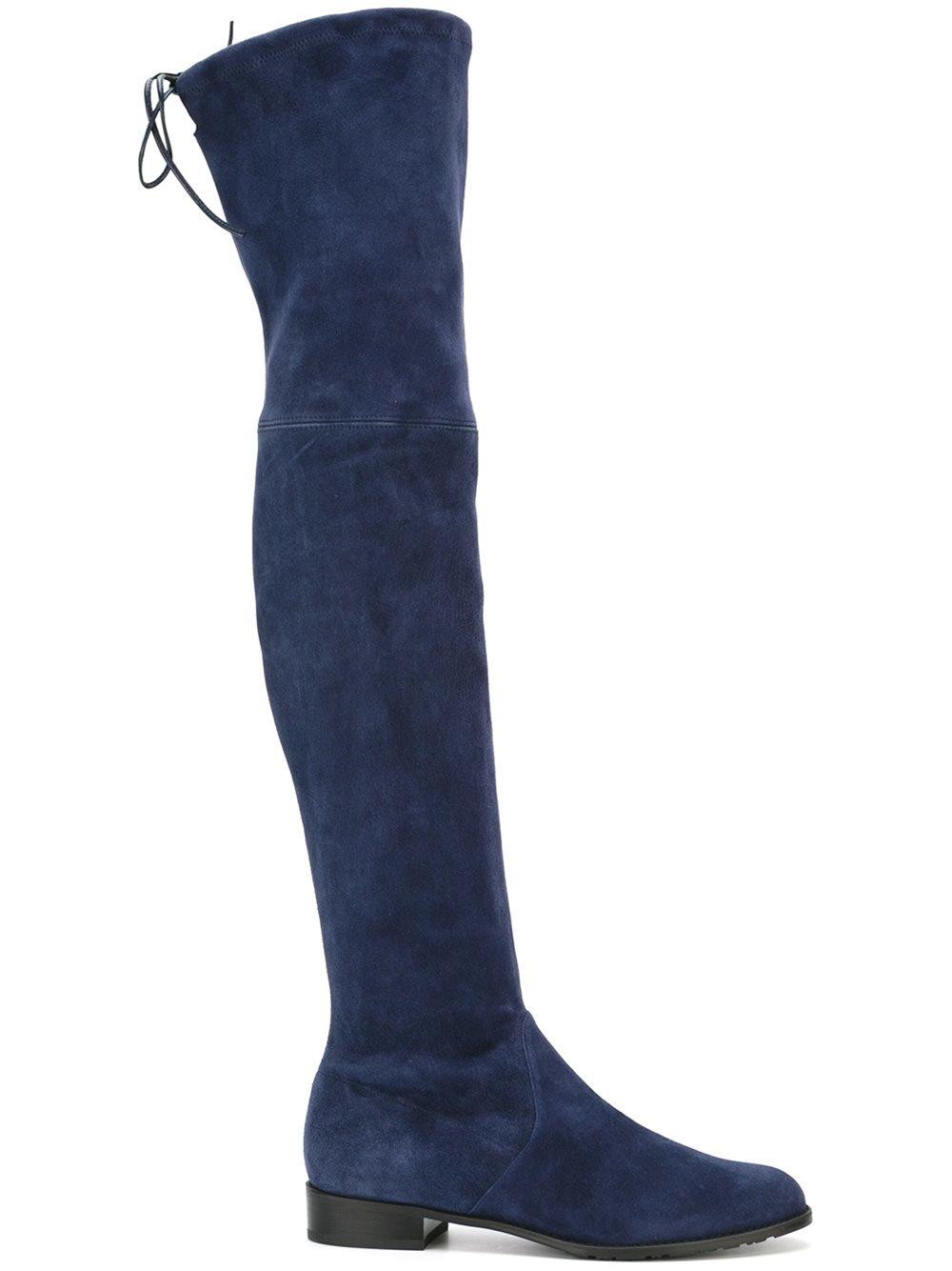 stuart weitzman the knee suede boots in blue lyst