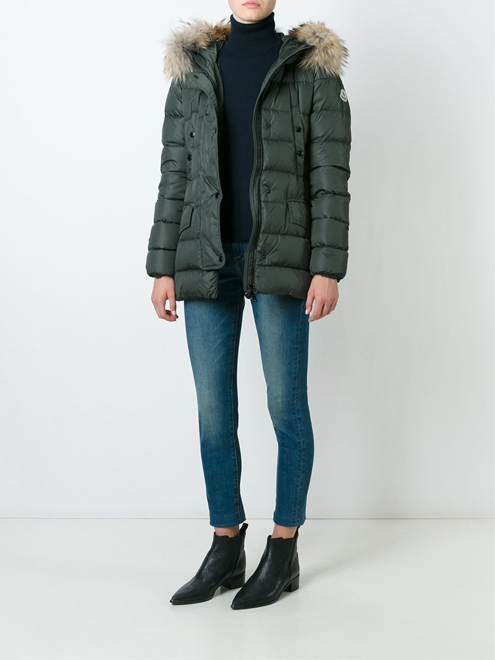 Moncler Clio Fur Trimmed Quilted Down Coat In Green Lyst