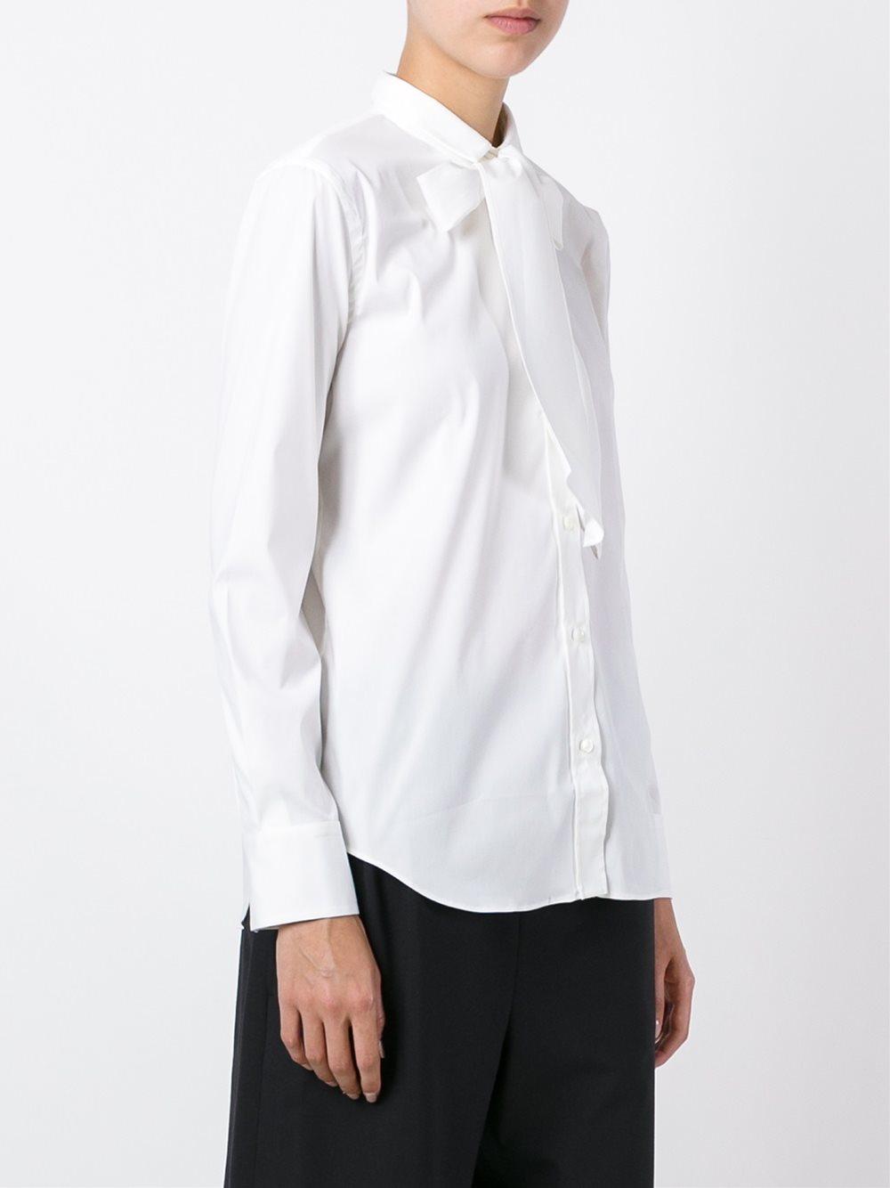 Brunello Cucinelli Bow Tie Collar Shirt In White Lyst