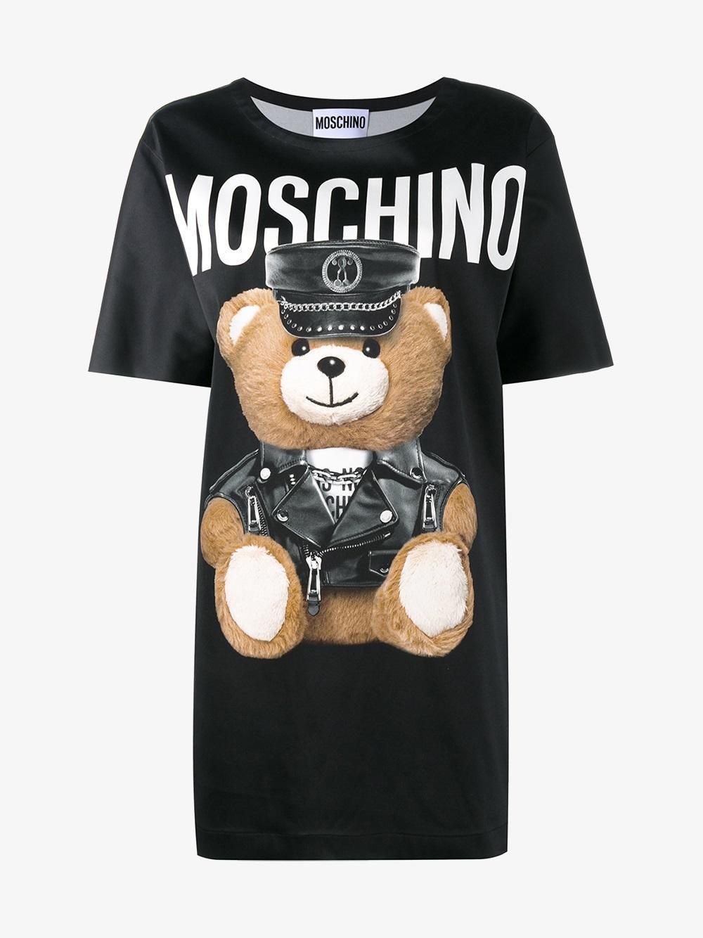 Moschino Teddy Bear Print T Shirt Dress In Black Lyst