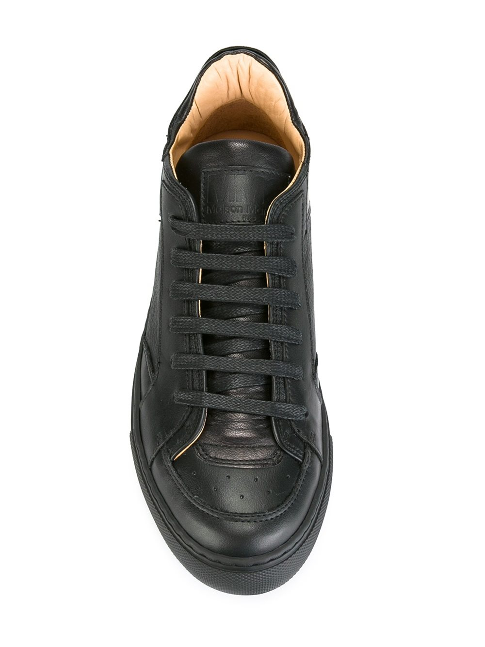 MM6 by Maison Martin Margiela Leather Classic Lace-up Sneakers in Black