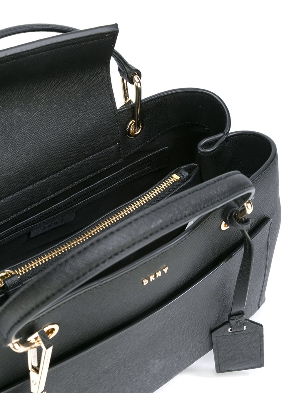 DKNY Leather Front Pocket Tote in Black