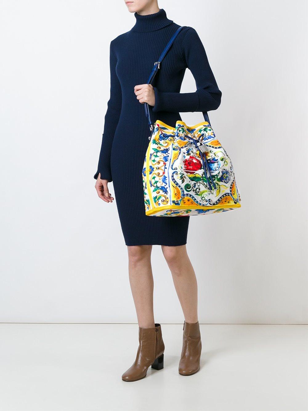 Dolce & Gabbana Cotton Majolica Print Bucket Tote