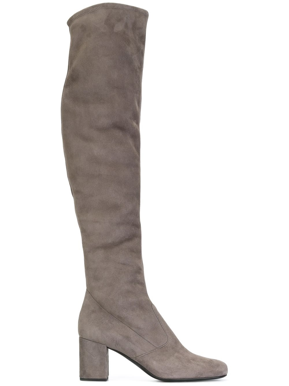 laurent babies 40 suede thigh high boots in gray lyst