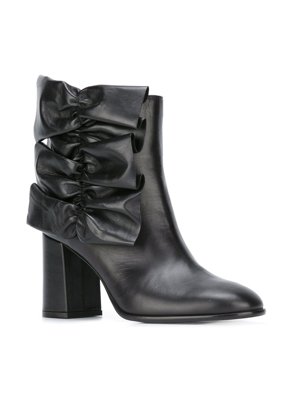 MSGM Gathered Detail Leather Boots in Black (Natural)
