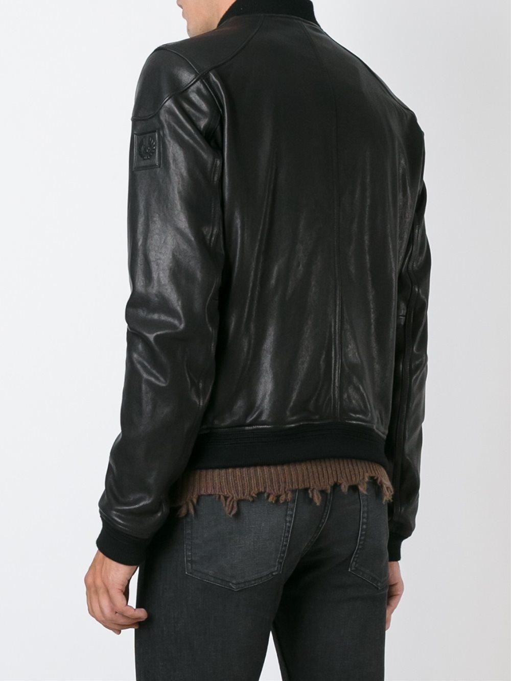 Lyst Belstaff Leather Bomber Jacket In Black For Men