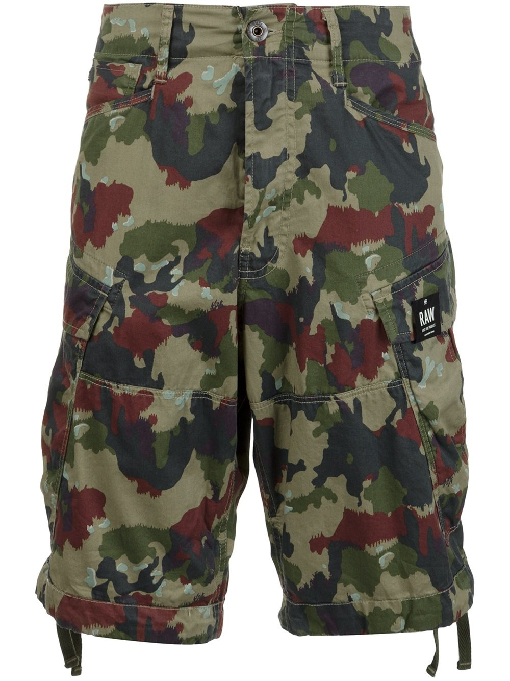 g star raw camouflage print cargo shorts in green for men lyst. Black Bedroom Furniture Sets. Home Design Ideas