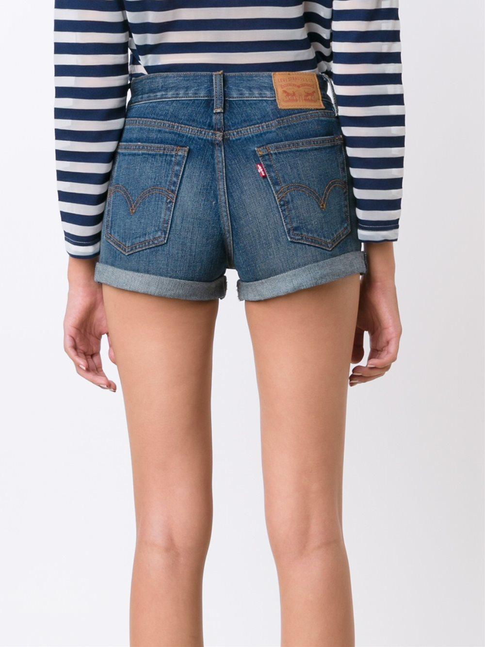 levi 39 s high waisted denim shorts in blue lyst. Black Bedroom Furniture Sets. Home Design Ideas