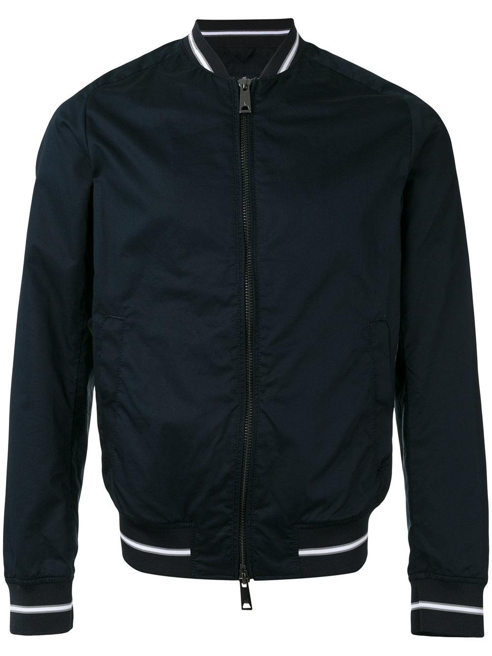 Armani Jeans Striped Cuff Bomber Jacket In Blue For Men Lyst