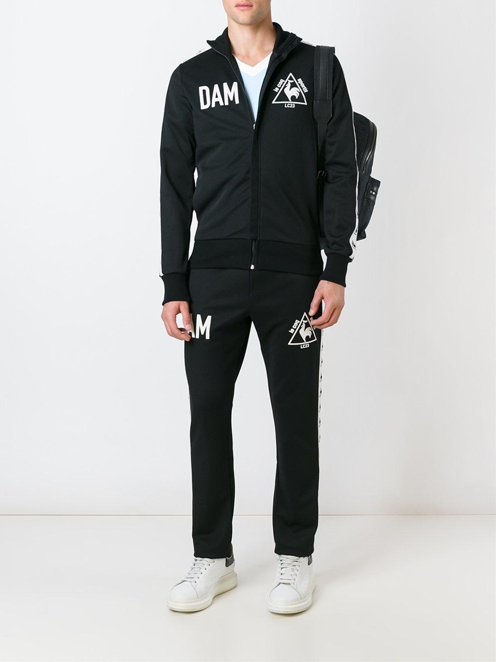 Le Coq Sportif Cotton 'dam' Trackpants in Black for Men