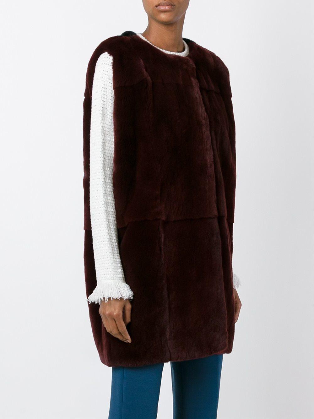 Marni Rabbit Fur Gilet In Brown Lyst