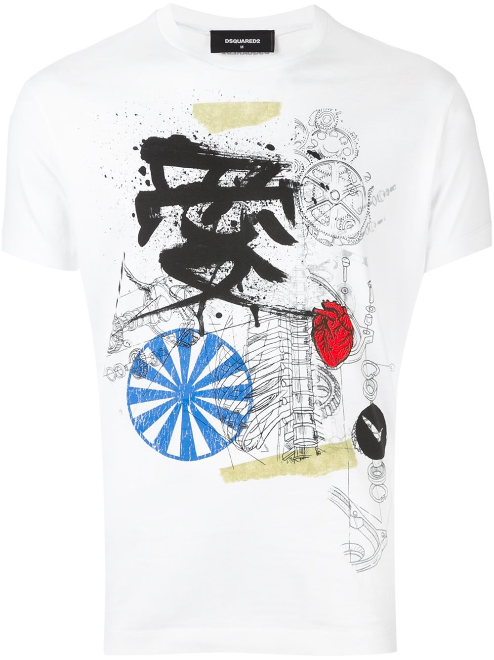 Dsquared mechanical sketch t shirt in white for men lyst for Mechanical logos for t shirts
