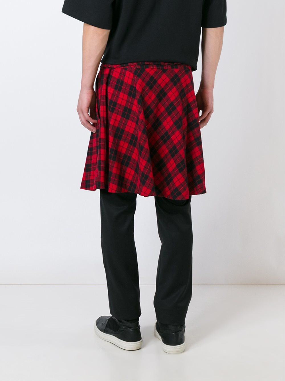 D.GNAK Wool Pants With Detachable Wrap Check Skirt in Black for Men