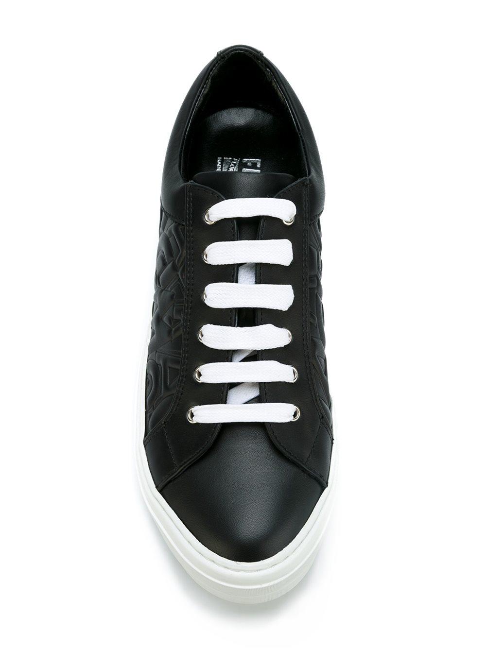 Ferragamo Leather 'Liu Let' Sneakers in Black (Brown)