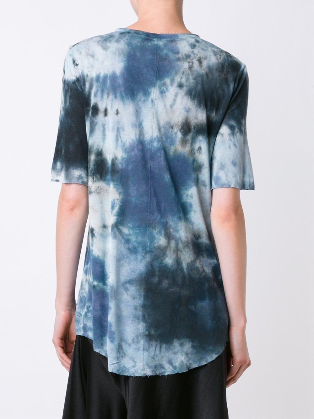 Raquel allegra tie dye print t shirt in blue lyst for Tie dye printed shirts