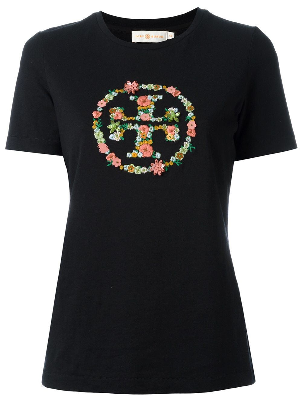 Tory burch embroidered logo t shirt in black lyst for Shirt with logo embroidered