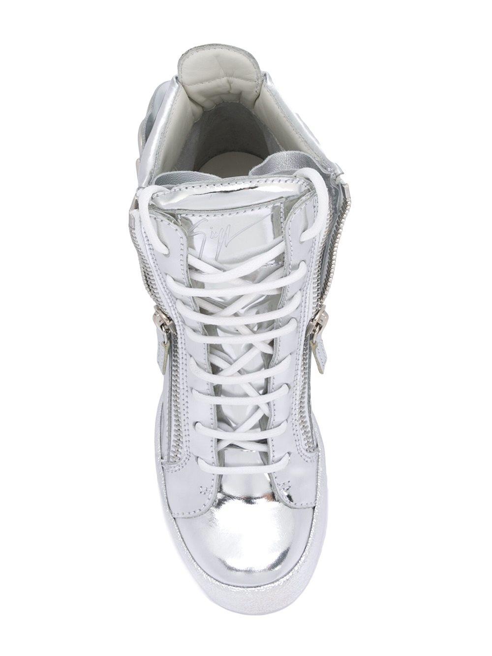 Giuseppe Zanotti Leather 'cruel' Wedge Sneakers in Metallic